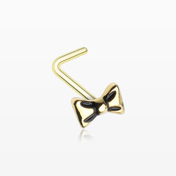 Golden Adorable Dainty Bow-Tie L-Shaped Nose Ring