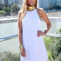 White Halter Dress with Gold Beaded Antique Neckline