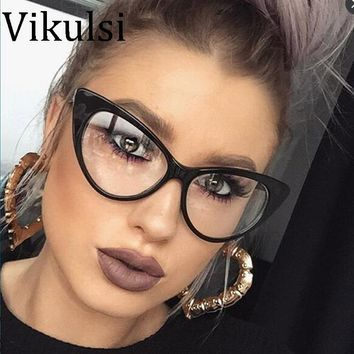 2017 New Sexy Cat Eye Optical Glasses Women Transparent Eyewear Brand Designer Vintage Clear Eyeglasses Optical Frame oculos