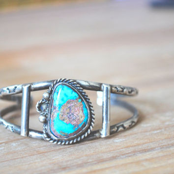 navajo large rough turquoise with pyrite flecks sterling silver cuff // vintage navajo // native american