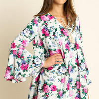 Umgee Floral Print Bell Sleeved Dress