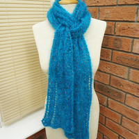 Knitted Extra Long Scarf, Cable Extra Long Scarf, Long Scarf in Aqua Blue, Mohair Long Scarf