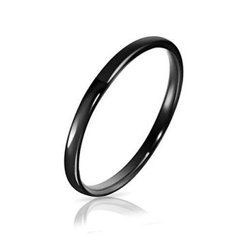 Three Keys Jewelry 2mm Womens Tungsten Wedding Ring for Women Black Wedding Band Engagement Ring Domed