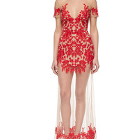 Luau Embroidered/Sheer Mesh Maxi Dress, Size: