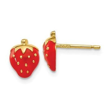 14K Yellow Gold Strawberry Post Earrings