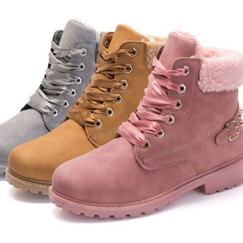 Lace up solid colors ankle plush lined hiking boots