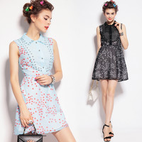 Star Print Beaded Sleeveless Dress