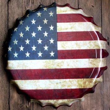 40cm Round USA Flag Relief Bottle Cap vintage Tin Sign Bar pub home Wall Decor Retro Metal art Poster