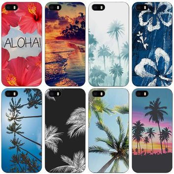 Aloha Palm Trees Black Plastic Case Cover Shell for iPhone Apple 4 4s 5 5s SE 5c 6 6s 7 Plus