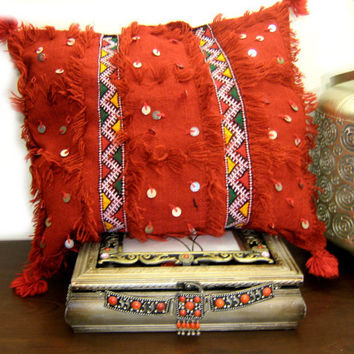 Decorative kilim pillow,Moroccan Berber Pillow,Handira wool pillow