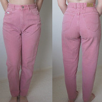 Women's 80s Pink High Waisted Jeans / Size 4 Petite