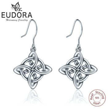 EUDORA Sterling Silver Good Luck Polished Dara Celtic Knot Drop Earring Dangler Women Fine 925 Jewelry girl birthday Gift