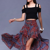 Alluring Paisley Print Layered  Bandeau Dress
