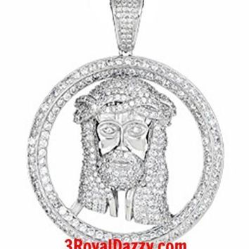 Hip Hop Iced Out Jesus Face white gold on Silver Pendant Medallion Large Size