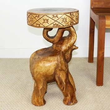 Hand-carved Walnut Oil Acacia Chang Elephant Table Stool