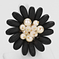 Daisy Cluster Stretch Ring Black Gold