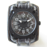 Military watch, Leather watch, Cuff watch, Leather cuff watch, Military gift , Men's leather watch, Black leather watch