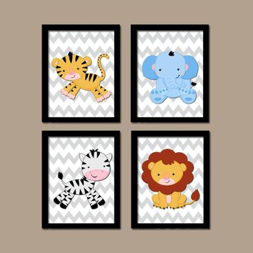 Jungle Animals Wall Art, Baby Boy Nursery Decor, Safari Animals, Jungle Animals Chevron, Safari Theme, CANVAS or Prints, Set of 4 Wall Decor