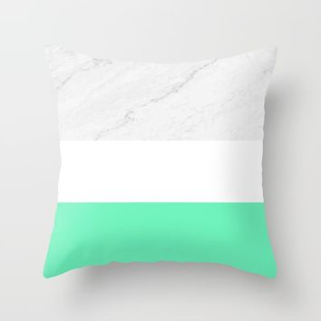 Marble White Mint Throw Pillow by ARTbyJWP