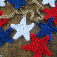 Rustic red white and blue stars garland (5ft) choice of styles and colors