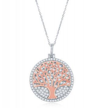 Tree of Life Necklace, Rose Gold and Micropave Clear CZ