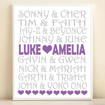 Music Famous Couples Personalized Names Typography Print: 8x10 or 11x14 Wedding Engagement Gift, Gray & Purple