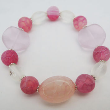 Pink Chinese Agate Beaded Elastic Bracelet Handmade by Lindsey - Beads from Siesta Key, Florida - Pink Quartz Gemstone - Frosted Glass Beads
