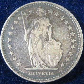 Swiss Silver COIN, 1904 Silver Coin, Swiss Franc Silver COIN, Switzerland 2 Francs Silver Coin, Collectible Silver Coin, Vintage Silver Coin