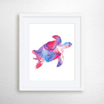 Sea Turtle Art Print, Nautical Home Decor, Beach Art Print, Nursery Art Print, Watercolor Turtle, Turtle Painting, Archival Print