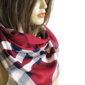Burgundy and navy blue Checkers Scarf, Cotton, Shawl, Chunky Scarf, women scarves, fashion scarf, gift ideas, for her, spring, on sale,