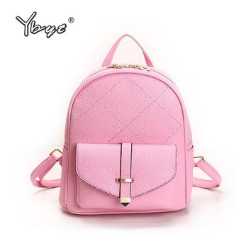 YBYT brand 2017 new fashion rucksack women PU leather pack student school bookbags teenagers travel bag ladies simple backpacks