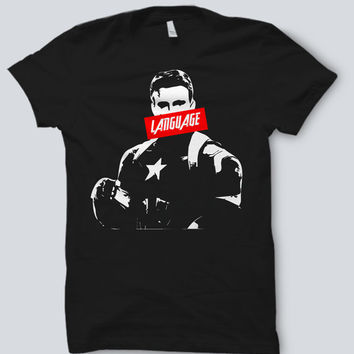 """MARVEL Avengers Age of Ultron - Captain America """"LANGUAGE"""" ObeyTee Shirt"""