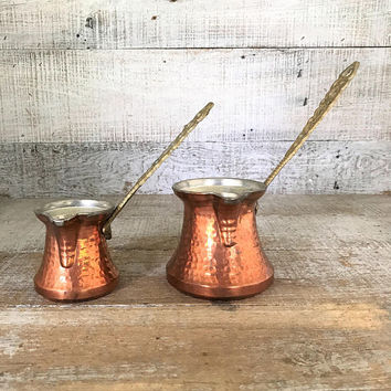 Turkish Coffee Pots 2 Hammered Copper and Brass Coffee Pot Rustic Greek Coffee Pots Copper Dipping Pot Copper Pour Over Antique Copper Pot