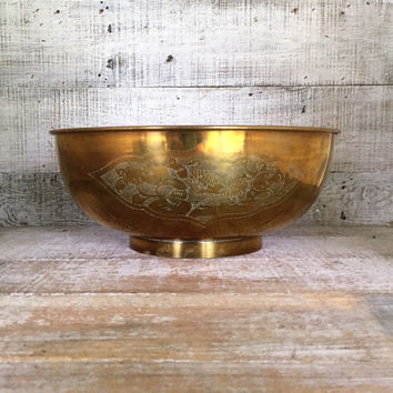 Brass Bowl Large Etched Brass Bowl Hollywood Regency Gold Bowl Large Brass Planter Mid Century Huge Metal Bowl Centerpiece Base