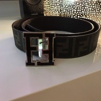 Men's FENDI FF Monogram Black/brown Belt Leather