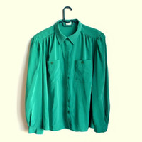 Plus Size Green Button Up Blouse Womens Shirts Vintage XXL XXXL 2XL 3XL 2X 3X