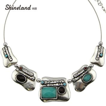 Shineland 2018 Fashion Vintage Antique Silver Choker Necklace Jewelry for Women Blue Black Red Color Resin Statement Necklace