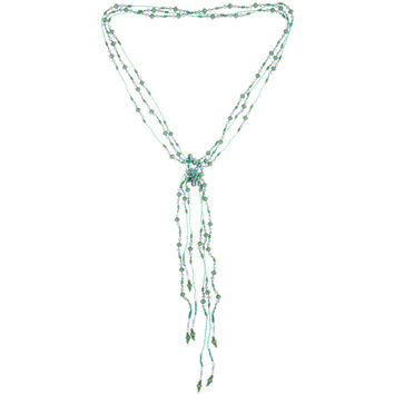 Necklace Handcrafted Glass and Crystal Beads Aqua Three Strands of Rope 55""