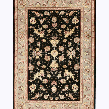 Hand-knotted Wool & Silk Black Traditional Oriental Sino-Persian Rug (4' x 6')