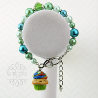 St. Patrick's Day, kawaii rainbow cupcake, st patty's day jewelry, st patricks day accessories, clover cupcake charm, lucky charm