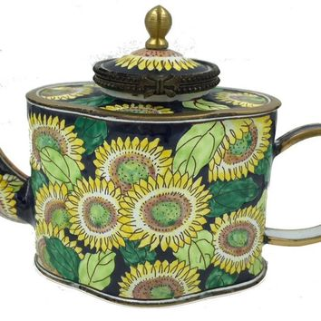Sunflowers Yellow Green Blue Miniature Porcelain Collectible Teapot 3H