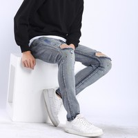 Lguc.H Mens Ripped Jeans 2018 New Summer Slim Distressed Stretch Jeans Male Denim Pants Ripped Design Skinny Jeans Men Size 42