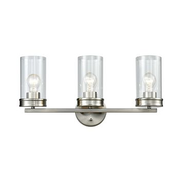 Leland 3-Light Vanity Lamp in Satin Nickel with Clear Blown Glass
