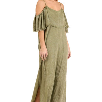 The Sedona Cold Shoulder Maxi Dress with Ruffle Sleeves
