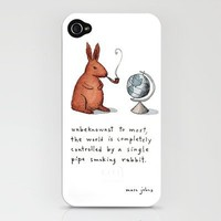 Pipe-smoking rabbit iPhone Case by Marc Johns | Society6