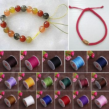0.8mm Nylon Cord Thread Chinese Knot Macrame Rattail Bracelet Braided String 45M