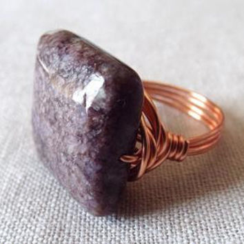 Charoite Ring - Unique Ring - Copper Ring - Wire Wrapped Jewelry Handmade - Big Ring - Dark Brown Ring - Russian Jewelry - Square Stone Ring