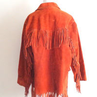 70s vintage mens fringe coat orange suede vintage western coat 70s hippie mexican jacket size L