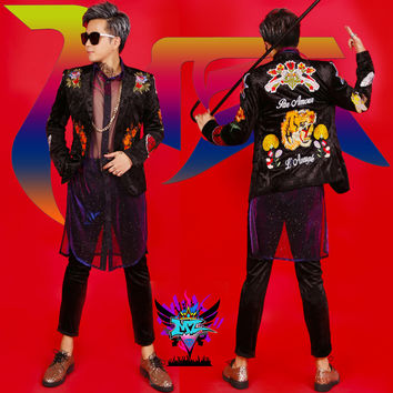 Men DJ Male singer concert nightclub Banner jacket bright shinny costumes stage show outerwear coat outfit performance dress