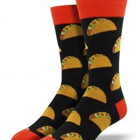 Men's Taco Print Novelty Crew Socks - Nylon/Cotton/Lycra